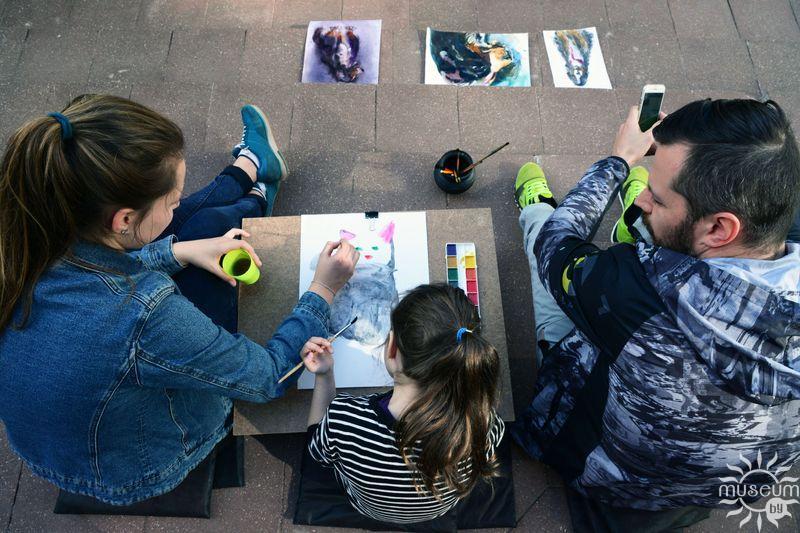 Удзельнікі майстар-класа ў рамках праекта «Вада+Фарба+». Полацк, Мастацкая галерэя, 2017
